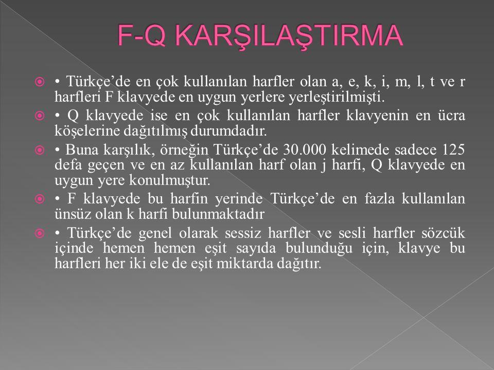 F-Q KARŞILAŞTIRMA • Türkçe'de en çok kullanılan harfler olan a, e, k, i, m, l, t ve r harfleri F klavyede en uygun yerlere yerleştirilmişti.
