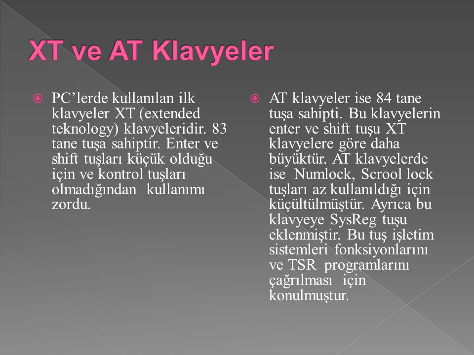 XT ve AT Klavyeler