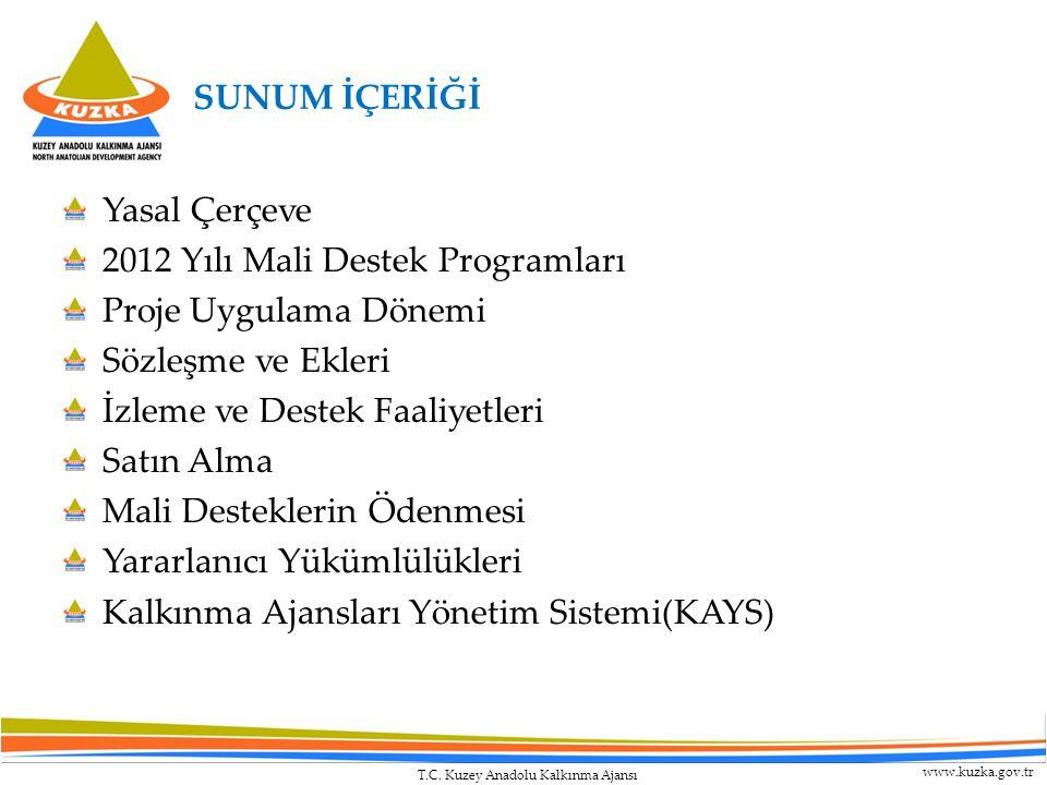 SUNUM İÇERİĞİ Yasal Çerçeve. 2012 Yılı Mali Destek Programları. Proje Uygulama Dönemi. Sözleşme ve Ekleri.