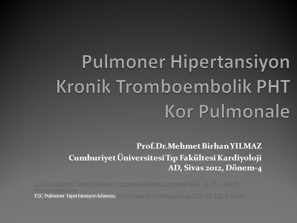 Pulmoner Hipertansiyon Kronik Tromboembolik PHT Kor Pulmonale