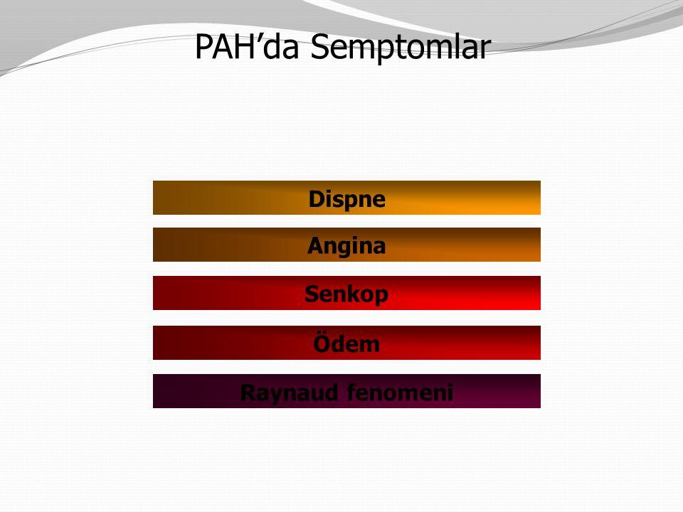 PAH'da Semptomlar Dispne Angina Senkop Ödem Raynaud fenomeni