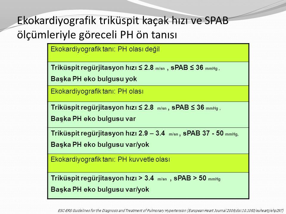 Ekokardiyografik triküspit kaçak hızı ve SPAB ölçümleriyle göreceli PH ön tanısı