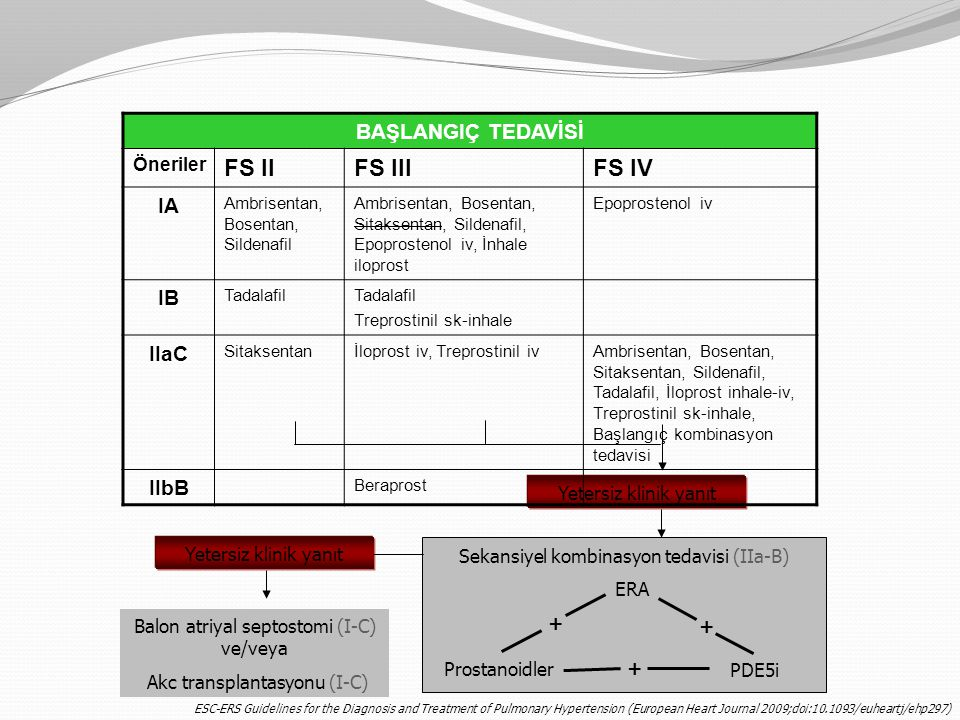 FS II FS III FS IV BAŞLANGIÇ TEDAVİSİ IA IB IIaC IIbB Öneriler