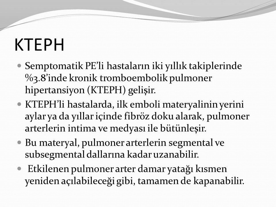 KTEPH Semptomatik PE'li hastaların iki yıllık takiplerinde %3.8'inde kronik tromboembolik pulmoner hipertansiyon (KTEPH) gelişir.