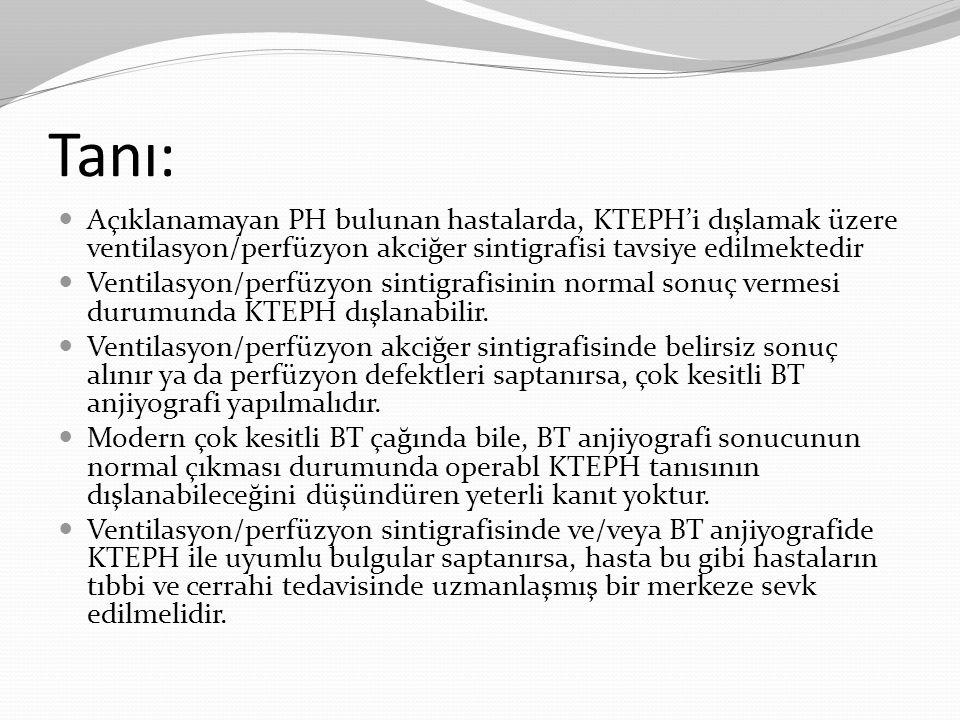 Tanı: Açıklanamayan PH bulunan hastalarda, KTEPH'i dışlamak üzere ventilasyon/perfüzyon akciğer sintigrafisi tavsiye edilmektedir.