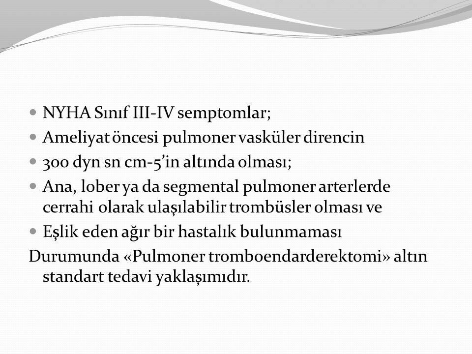 NYHA Sınıf III-IV semptomlar;