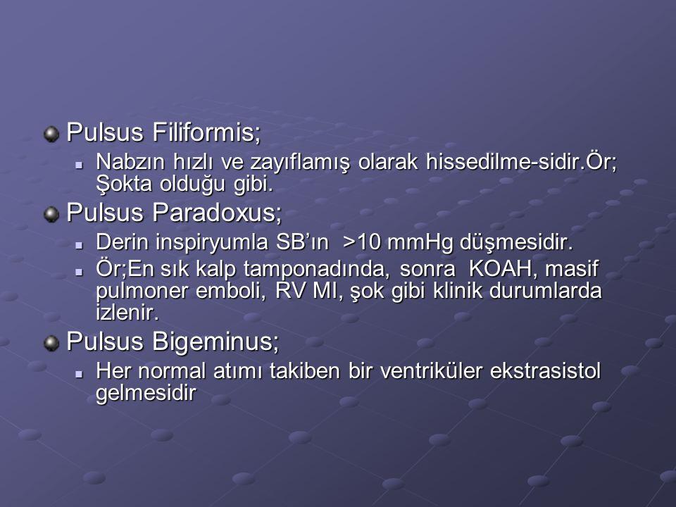 Pulsus Filiformis; Pulsus Paradoxus; Pulsus Bigeminus;