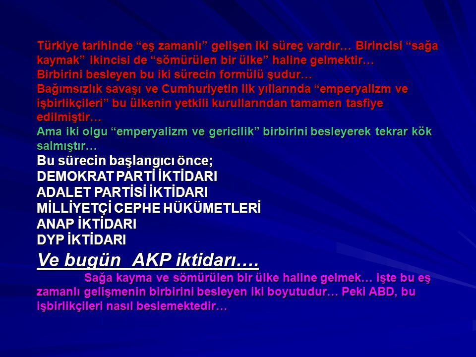 Ve bugün AKP iktidarı…. Bu sürecin başlangıcı önce;