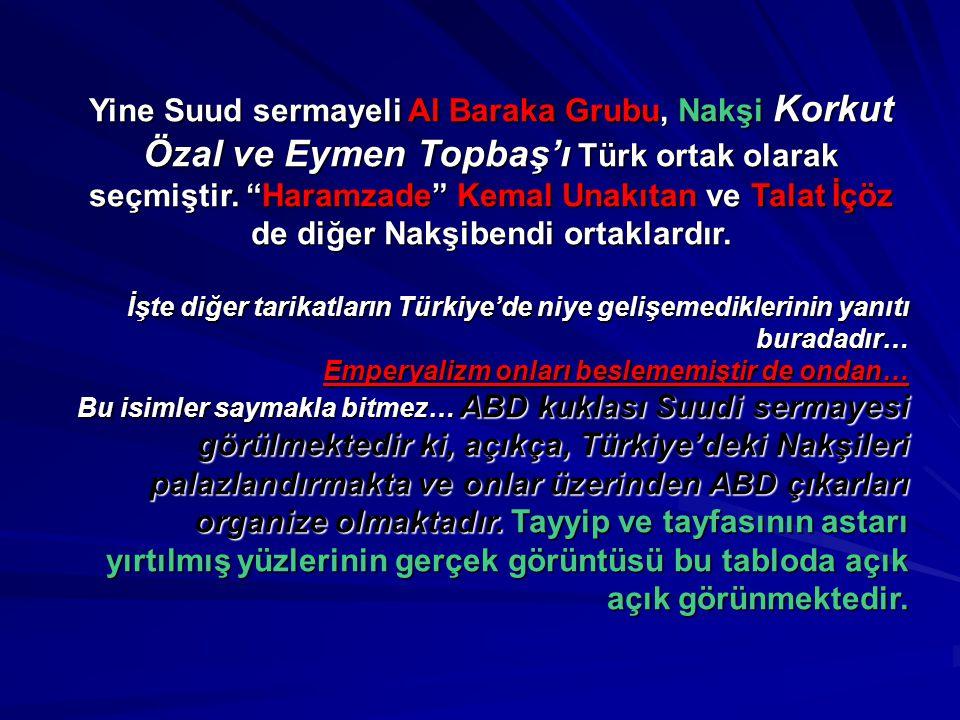 Yine Suud sermayeli Al Baraka Grubu, Nakşi Korkut Özal ve Eymen Topbaş'ı Türk ortak olarak seçmiştir. Haramzade Kemal Unakıtan ve Talat İçöz de diğer Nakşibendi ortaklardır.