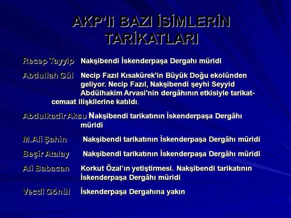AKP'li BAZI İSİMLERİN TARİKATLARI