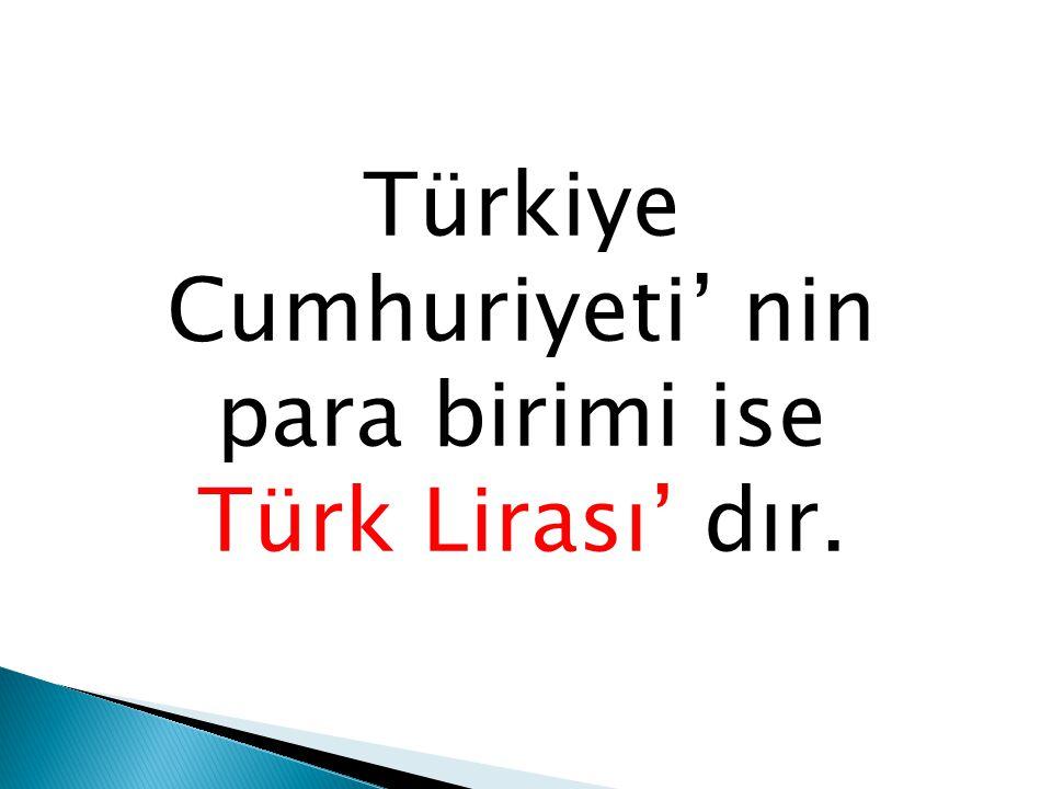 Türkiye Cumhuriyeti' nin para birimi ise