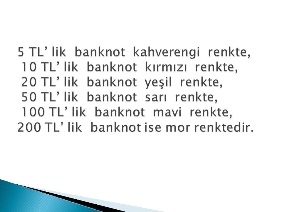 5 TL' lik banknot kahverengi renkte, 10 TL' lik banknot kırmızı renkte, 20 TL' lik banknot yeşil renkte, 50 TL' lik banknot sarı renkte, 100 TL' lik banknot mavi renkte, 200 TL' lik banknot ise mor renktedir.