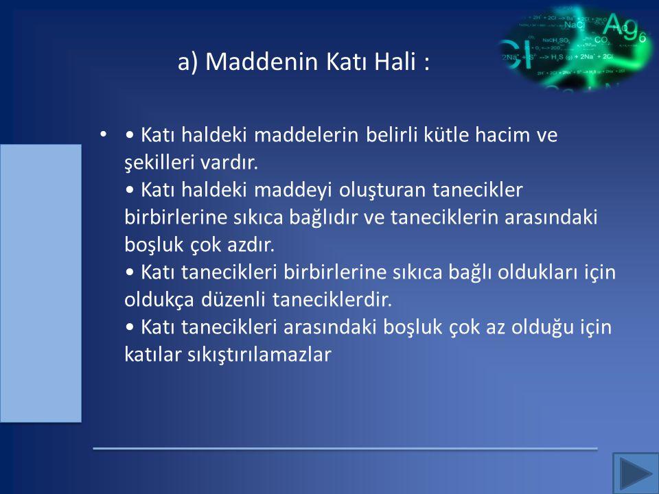 a) Maddenin Katı Hali :