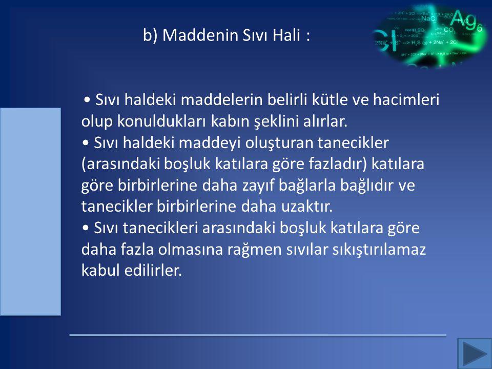 b) Maddenin Sıvı Hali :