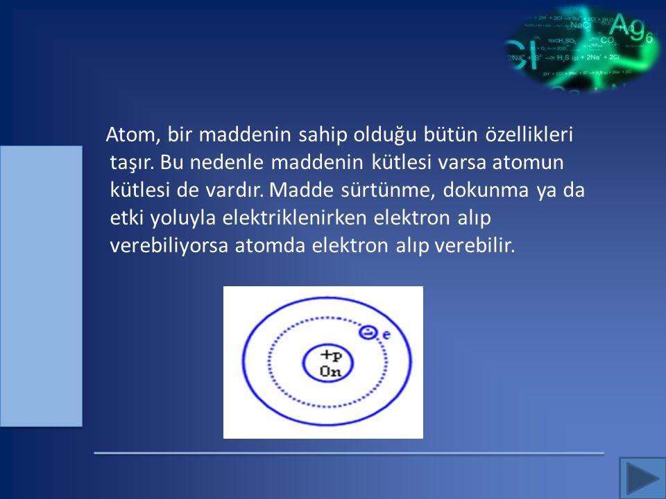 Atom, bir maddenin sahip olduğu bütün özellikleri taşır