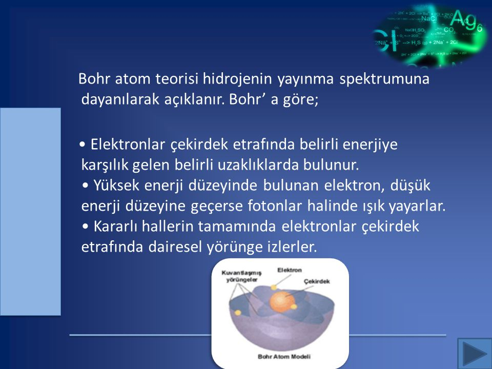 Bohr atom teorisi hidrojenin yayınma spektrumuna dayanılarak açıklanır