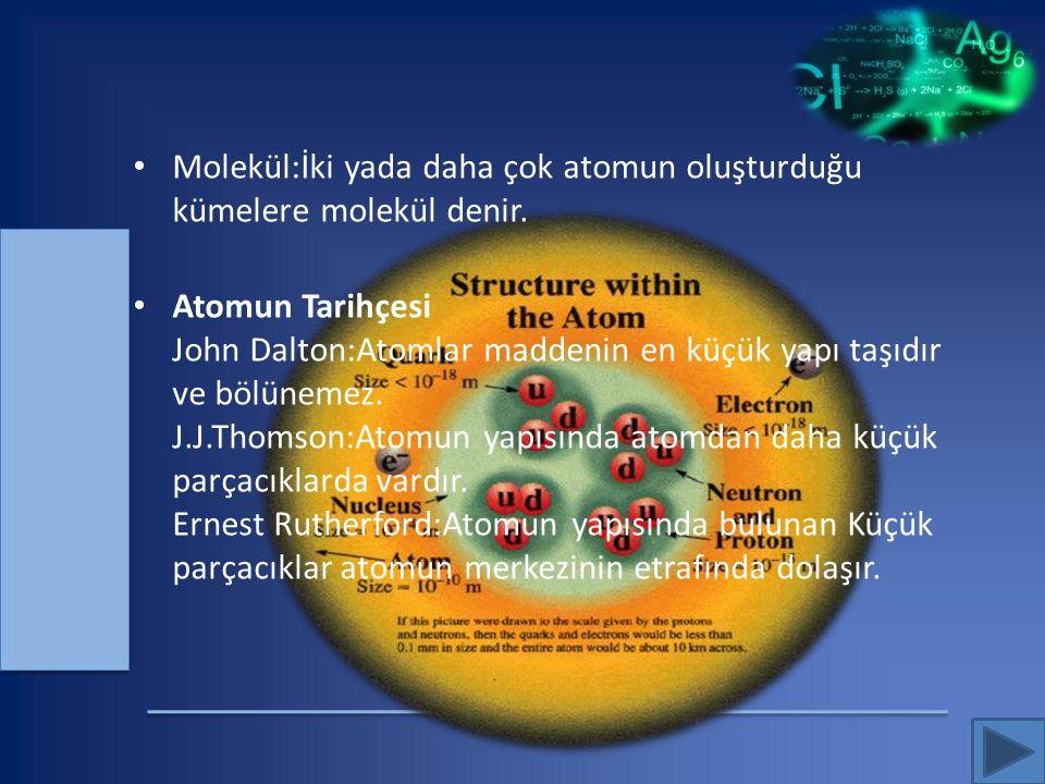 Molekül:İki yada daha çok atomun oluşturduğu kümelere molekül denir.