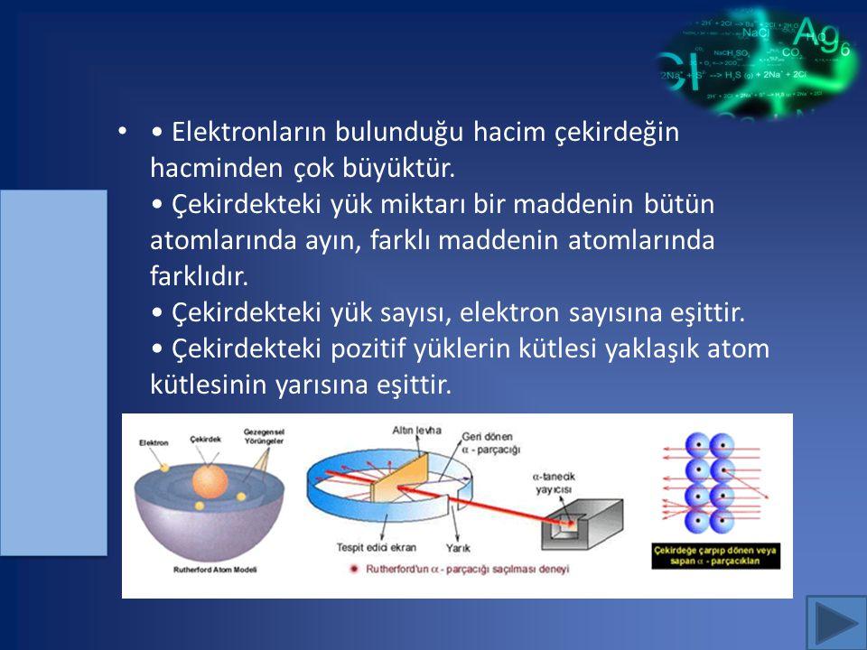 • Elektronların bulunduğu hacim çekirdeğin hacminden çok büyüktür