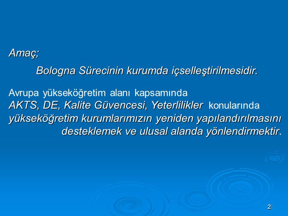 Bologna Sürecinin kurumda içselleştirilmesidir.