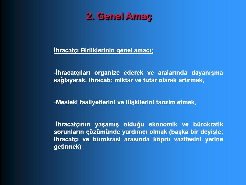 2. Genel Amaç İhracatçı Birliklerinin genel amacı;