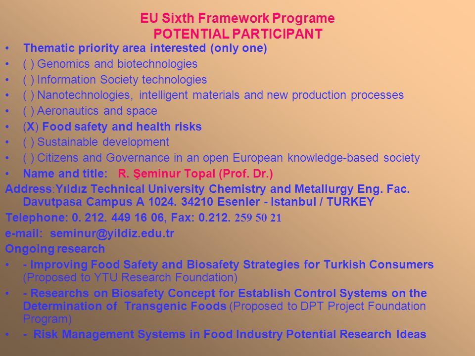 EU Sixth Framework Programe POTENTIAL PARTICIPANT