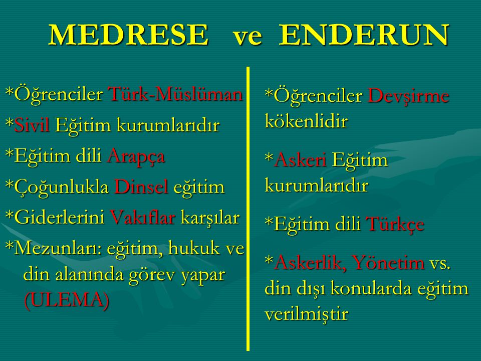 MEDRESE ve ENDERUN *Öğrenciler Türk-Müslüman