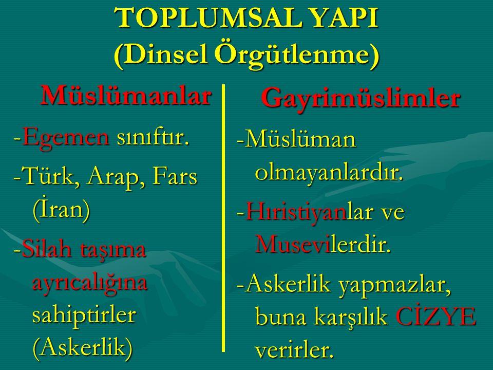 TOPLUMSAL YAPI (Dinsel Örgütlenme)