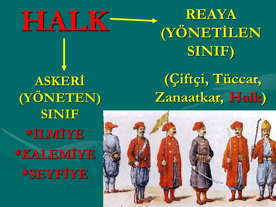 HALK REAYA (YÖNETİLEN SINIF) (Çiftçi, Tüccar, Zanaatkar, Halk)
