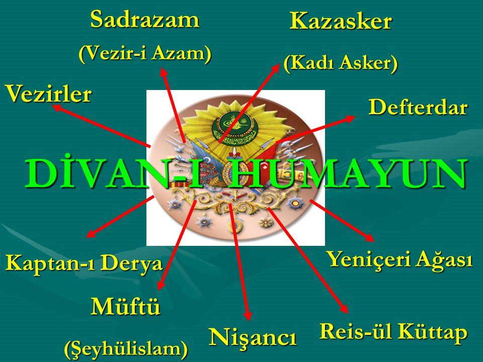 DİVAN-I HUMAYUN Sadrazam Kazasker Vezirler Müftü Nişancı Defterdar