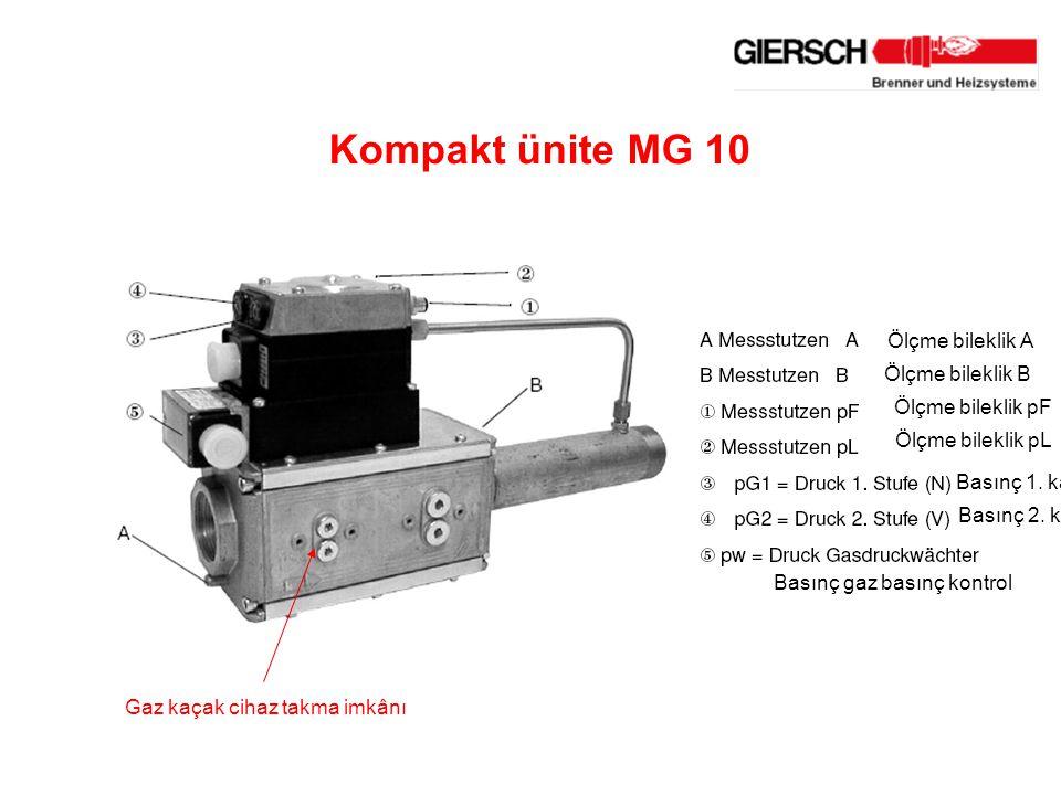 Kompakt ünite MG 10 Ölçme bileklik A Ölçme bileklik B
