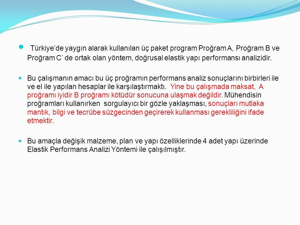 Türkiye'de yaygın alarak kullanılan üç paket program Proğram A, Proğram B ve Proğram C' de ortak olan yöntem, doğrusal elastik yapı performansı analizidir.