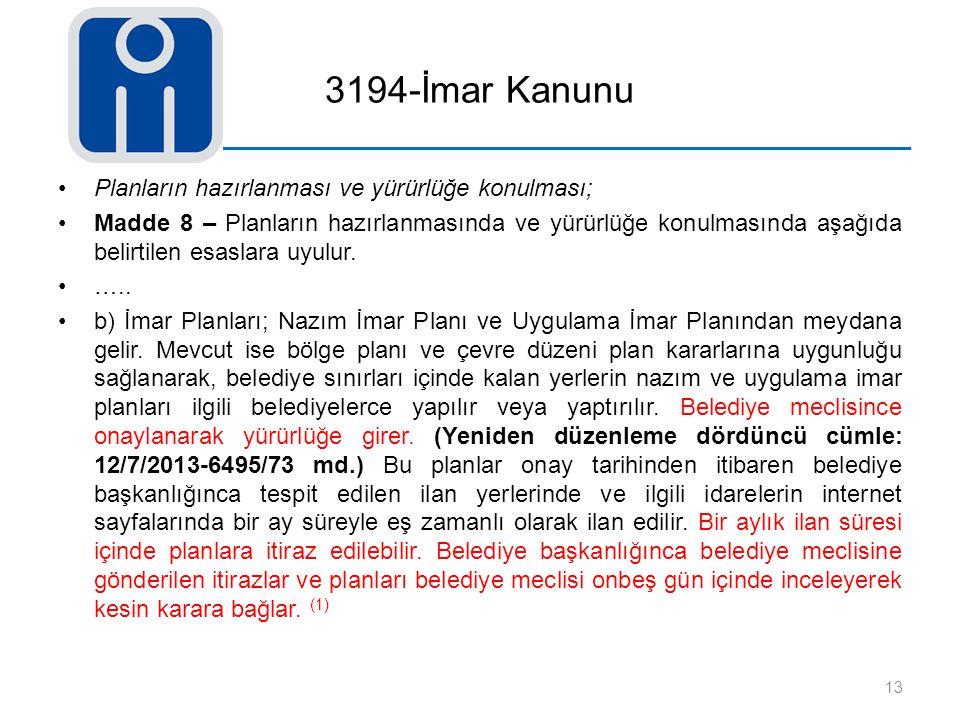 3194-İmar Kanunu Planların hazırlanması ve yürürlüğe konulması;