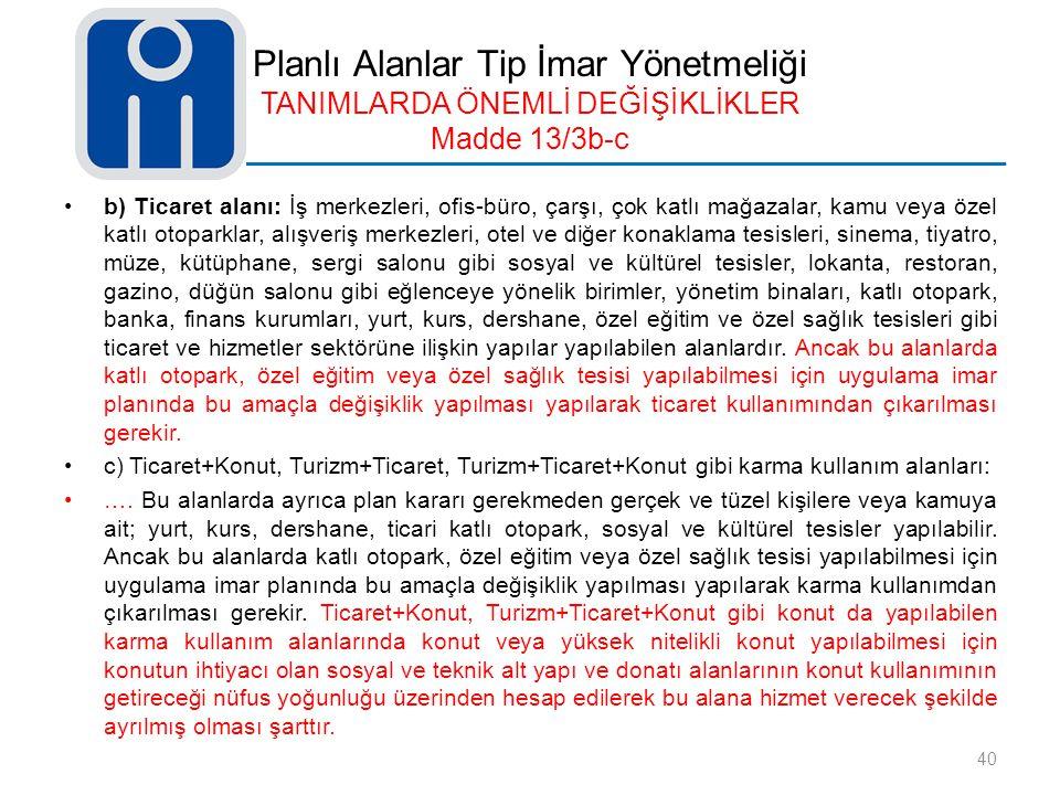 Planlı Alanlar Tip İmar Yönetmeliği TANIMLARDA ÖNEMLİ DEĞİŞİKLİKLER Madde 13/3b-c