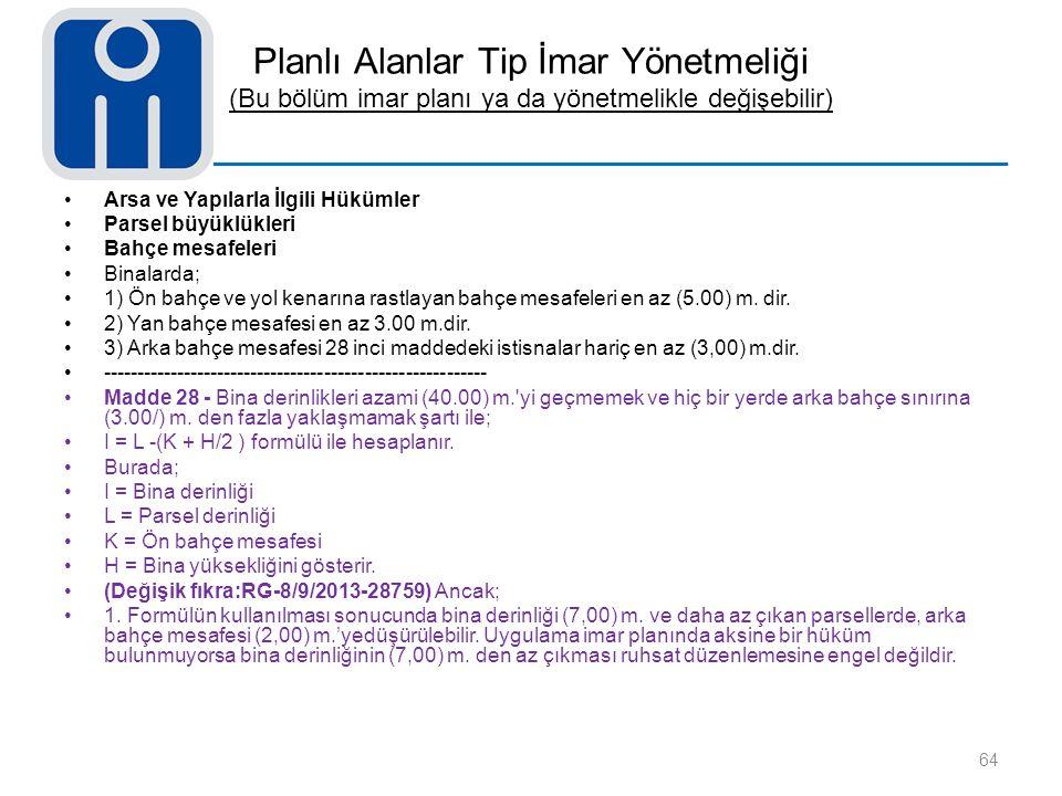 Planlı Alanlar Tip İmar Yönetmeliği (Bu bölüm imar planı ya da yönetmelikle değişebilir)
