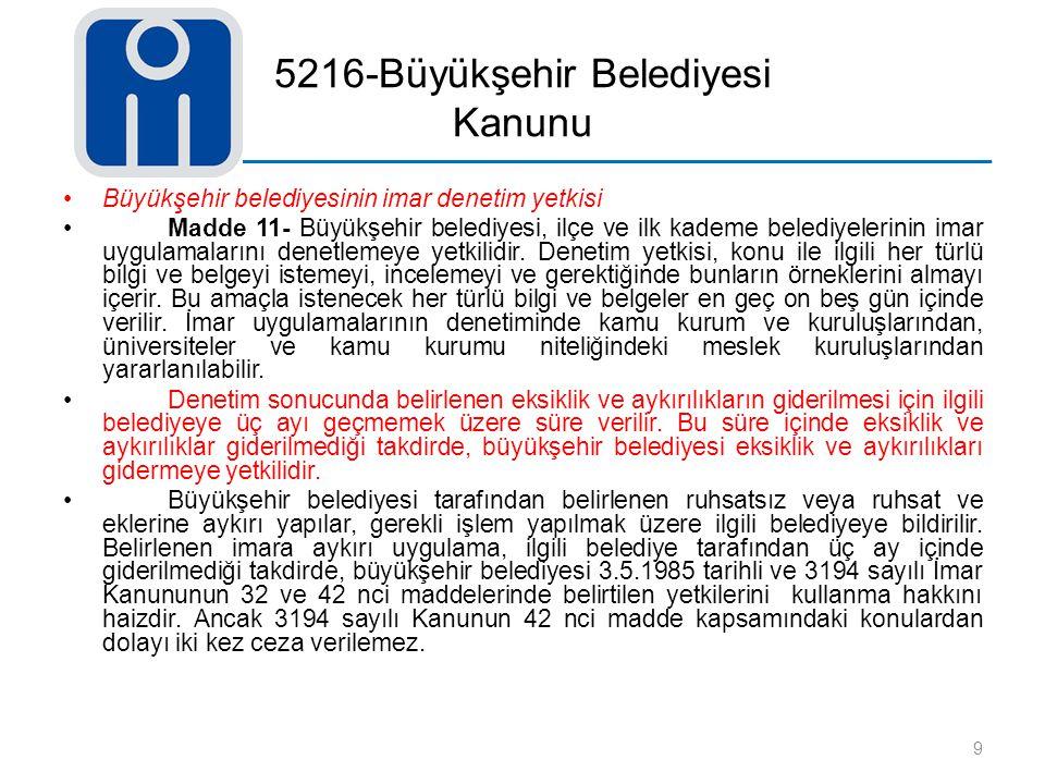 5216-Büyükşehir Belediyesi Kanunu
