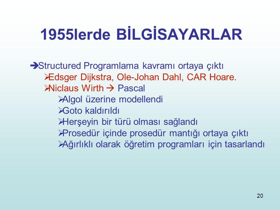 1955lerde BİLGİSAYARLAR Structured Programlama kavramı ortaya çıktı