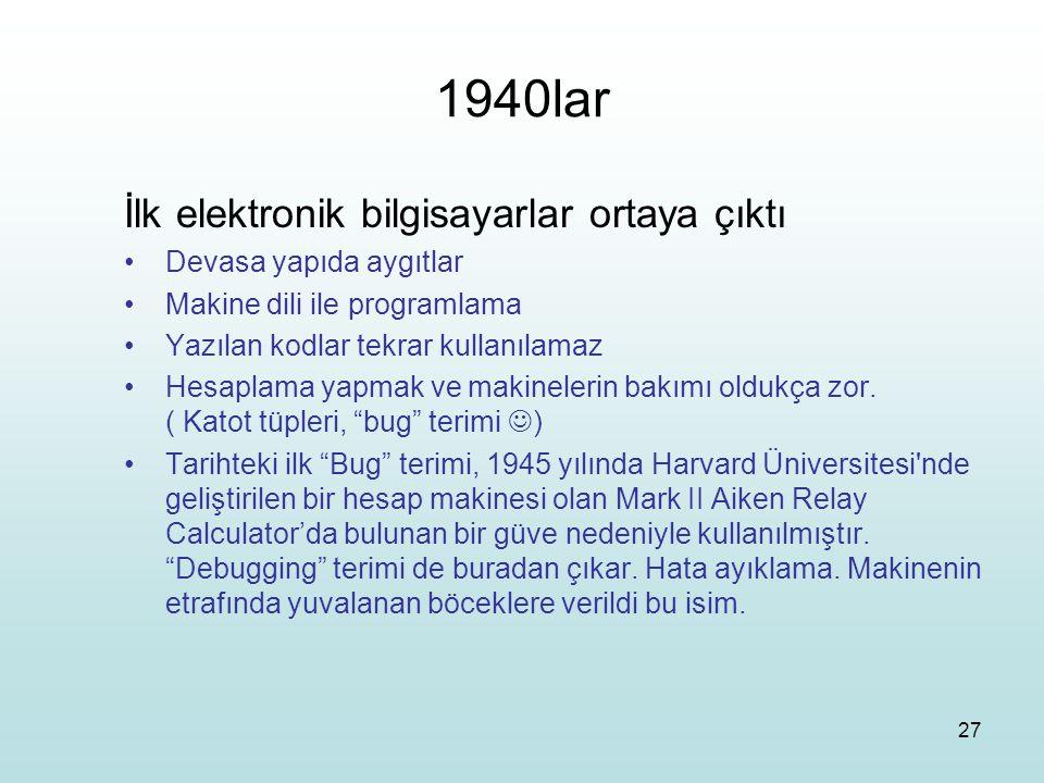 1940lar İlk elektronik bilgisayarlar ortaya çıktı