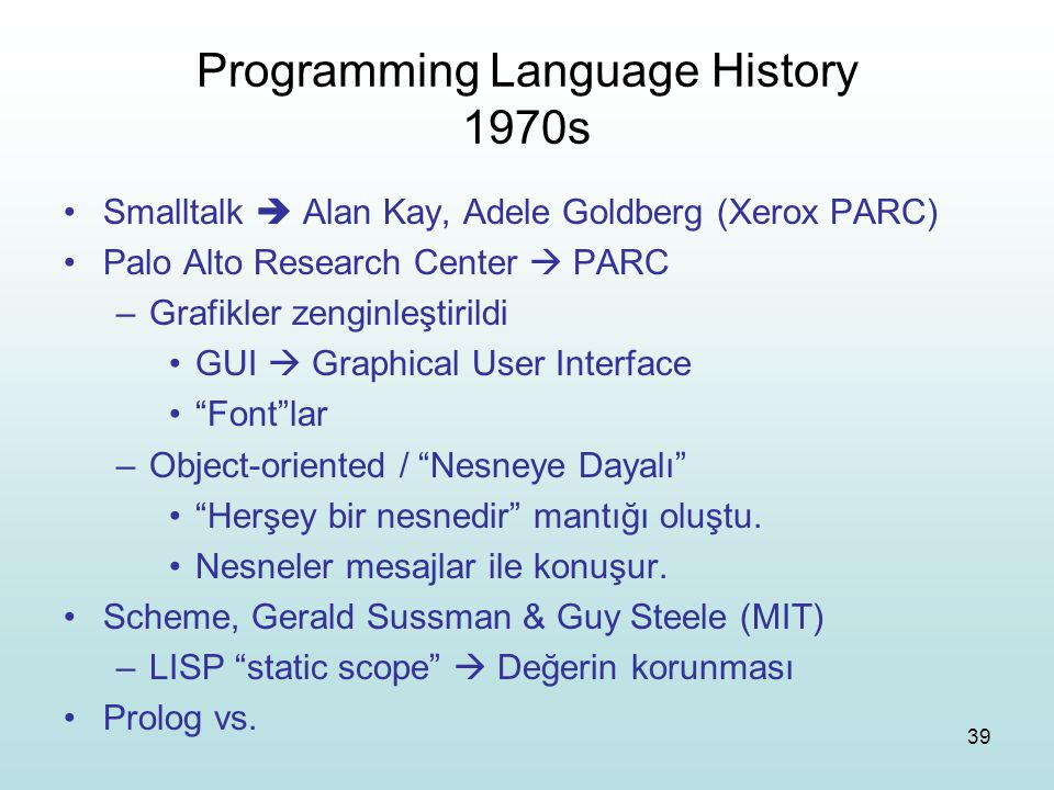 Programming Language History 1970s