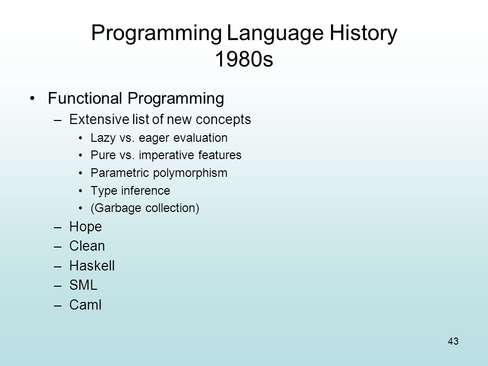 Programming Language History 1980s