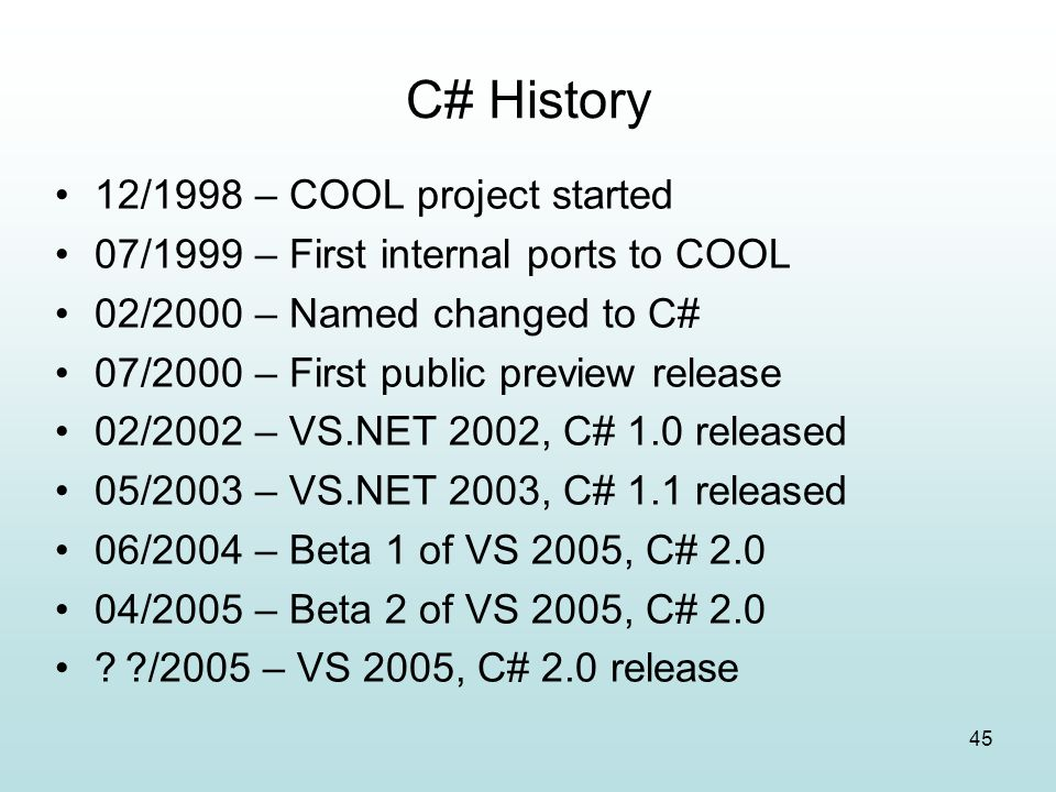 C# History 12/1998 – COOL project started