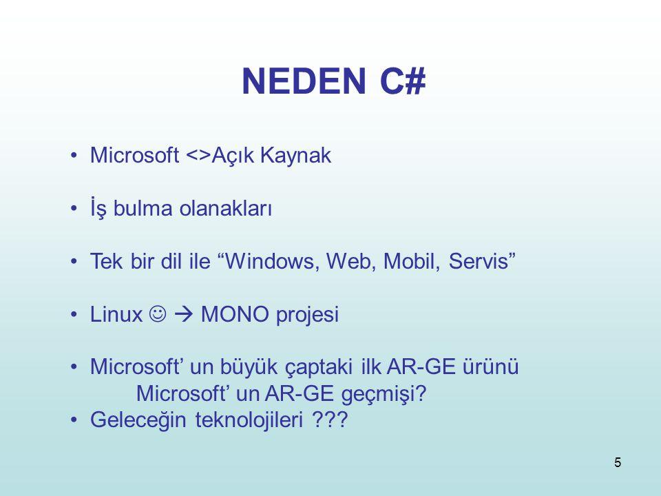 NEDEN C# Microsoft <>Açık Kaynak İş bulma olanakları