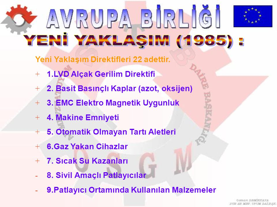 YENİ YAKLAŞIM (1985) : Yeni Yaklaşım Direktifleri 22 adettir.
