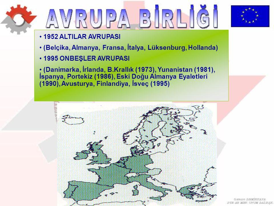 1952 ALTILAR AVRUPASI (Belçika, Almanya, Fransa, İtalya, Lüksenburg, Hollanda) 1995 ONBEŞLER AVRUPASI.