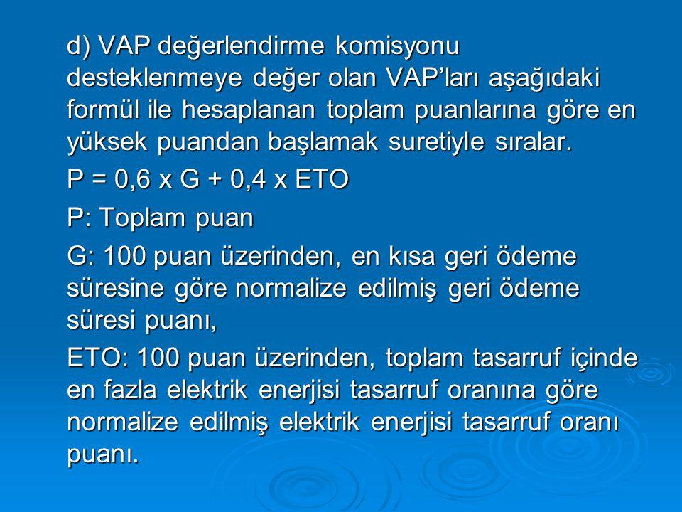 d) VAP değerlendirme komisyonu desteklenmeye değer olan VAP'ları aşağıdaki formül ile hesaplanan toplam puanlarına göre en yüksek puandan başlamak suretiyle sıralar.