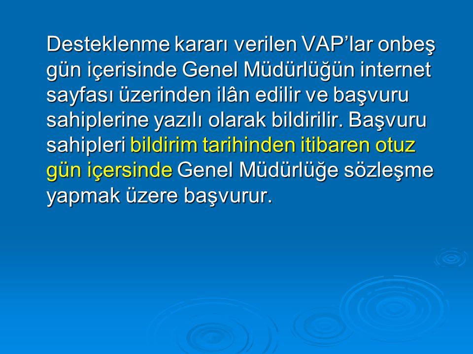 Desteklenme kararı verilen VAP'lar onbeş gün içerisinde Genel Müdürlüğün internet sayfası üzerinden ilân edilir ve başvuru sahiplerine yazılı olarak bildirilir.