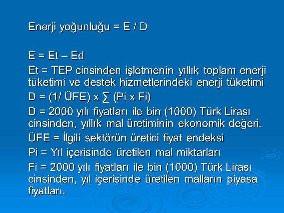 Enerji yoğunluğu = E / D E = Et – Ed. Et = TEP cinsinden işletmenin yıllık toplam enerji tüketimi ve destek hizmetlerindeki enerji tüketimi.