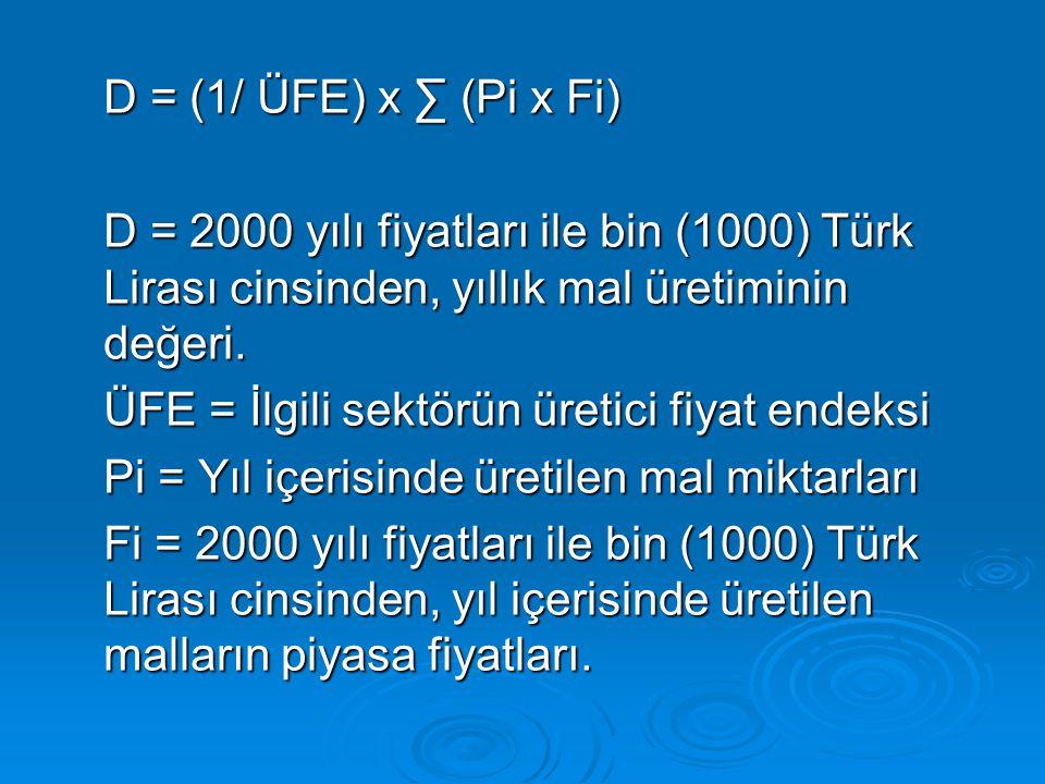 D = (1/ ÜFE) x ∑ (Pi x Fi) D = 2000 yılı fiyatları ile bin (1000) Türk Lirası cinsinden, yıllık mal üretiminin değeri.
