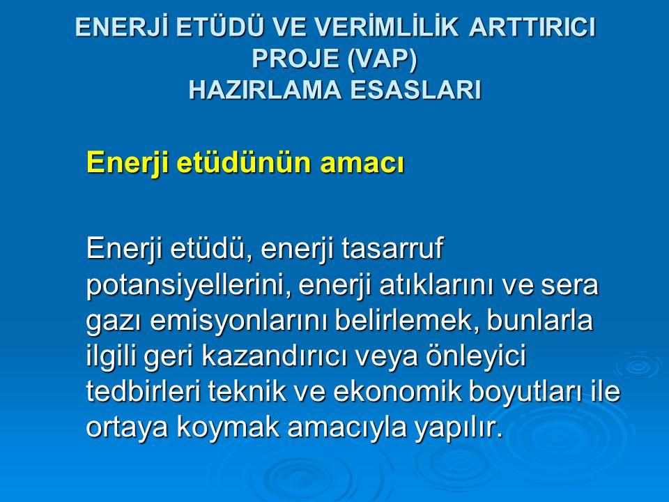ENERJİ ETÜDÜ VE VERİMLİLİK ARTTIRICI PROJE (VAP) HAZIRLAMA ESASLARI