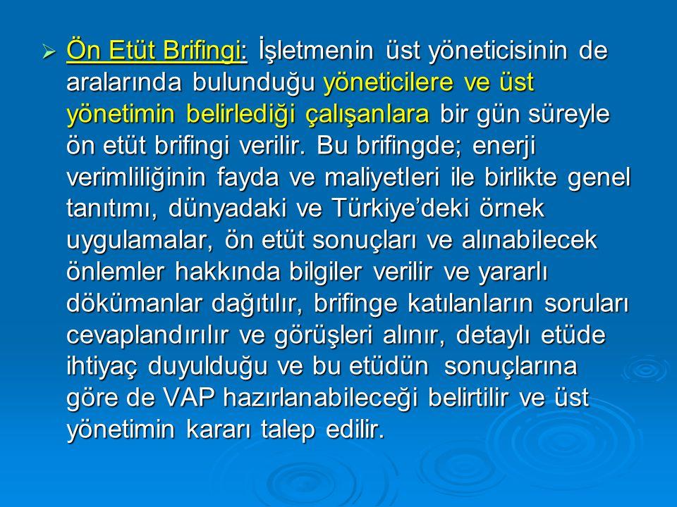Ön Etüt Brifingi: İşletmenin üst yöneticisinin de aralarında bulunduğu yöneticilere ve üst yönetimin belirlediği çalışanlara bir gün süreyle ön etüt brifingi verilir.