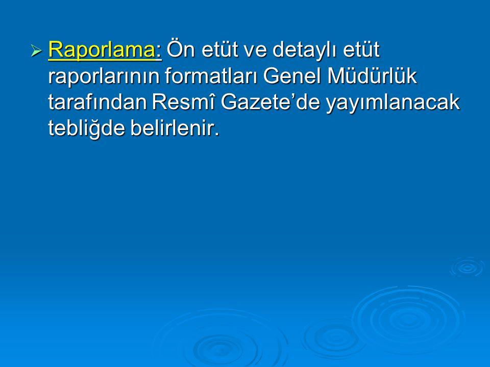 Raporlama: Ön etüt ve detaylı etüt raporlarının formatları Genel Müdürlük tarafından Resmî Gazete'de yayımlanacak tebliğde belirlenir.